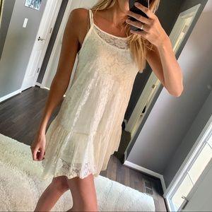 Ivory Sheer Lace Cami Tunic / Layering Tank Top